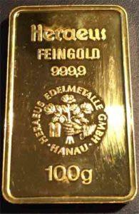 Goldbarren-100g-Feingold-9999-Heraeus-Hanau
