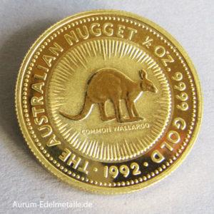 Anlagemünze Australien-1_2-oz-Kangaroo-Nugget-1992-Gold