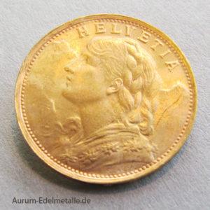 Umlaufmünze Schweiz-Vreneli-20-Franken-Goldmuenze-1935